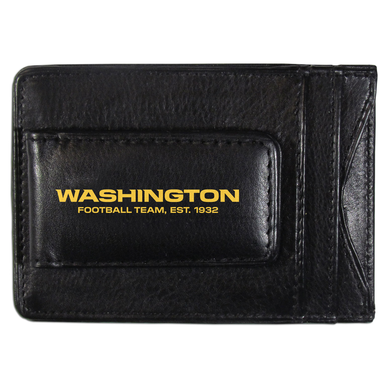 Washington Redskins Logo Leather Cash and Cardholder - This super slim leather wallet lets you have all the benefits of a money clip while keeping the organization of a wallet. On one side of this front pocket wallet there is a strong, magnetic money clip to keep your cash easily accessible and the?Washington Redskins team logo on the front. The versatile men's accessory is a perfect addition to your fan apparel.