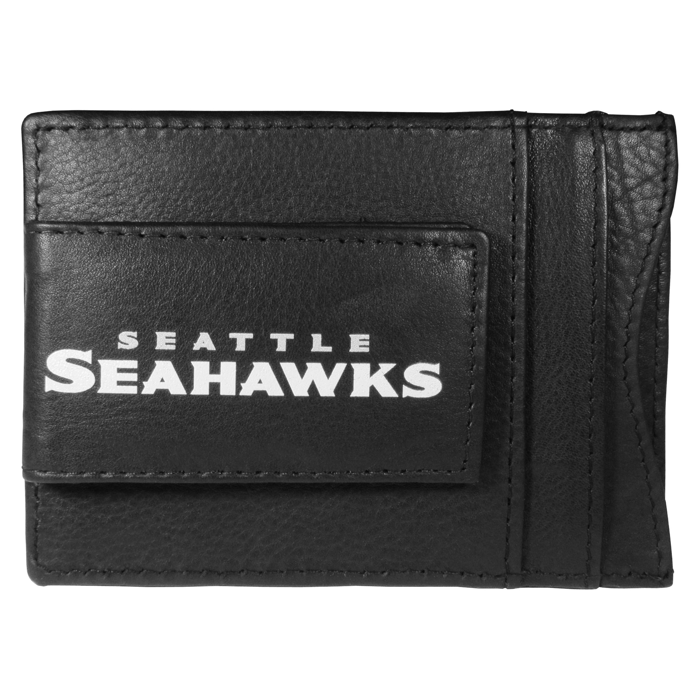 Seattle Seahawks Logo Leather Cash and Cardholder - This super slim leather wallet lets you have all the benefits of a money clip while keeping the organization of a wallet. On one side of this front pocket wallet there is a strong, magnetic money clip to keep your cash easily accessible and the?Seattle Seahawks team logo on the front. The versatile men's accessory is a perfect addition to your fan apparel.
