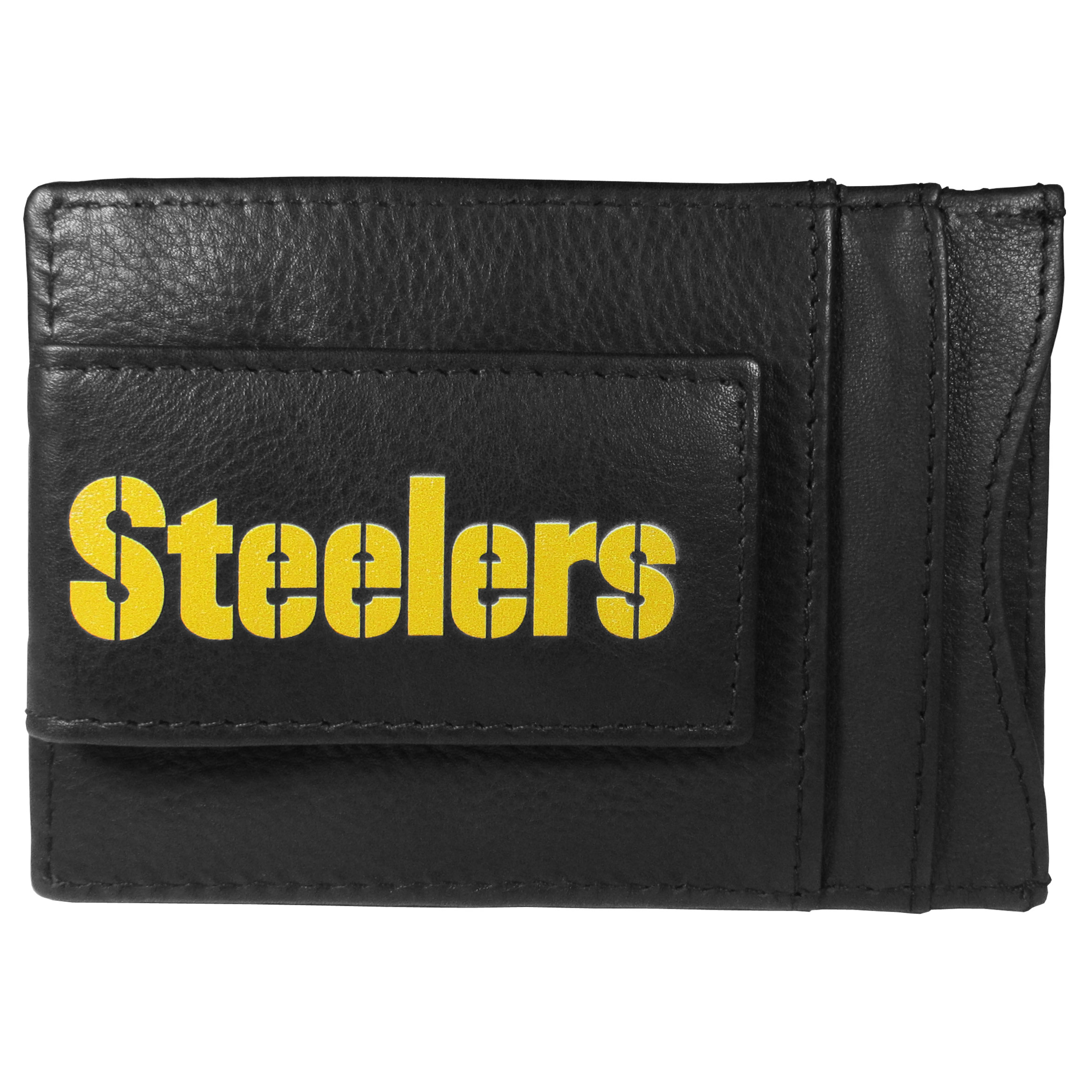 Pittsburgh Steelers Logo Leather Cash and Cardholder - This super slim leather wallet lets you have all the benefits of a money clip while keeping the organization of a wallet. On one side of this front pocket wallet there is a strong, magnetic money clip to keep your cash easily accessible and the?Pittsburgh Steelers team logo on the front. The versatile men's accessory is a perfect addition to your fan apparel.