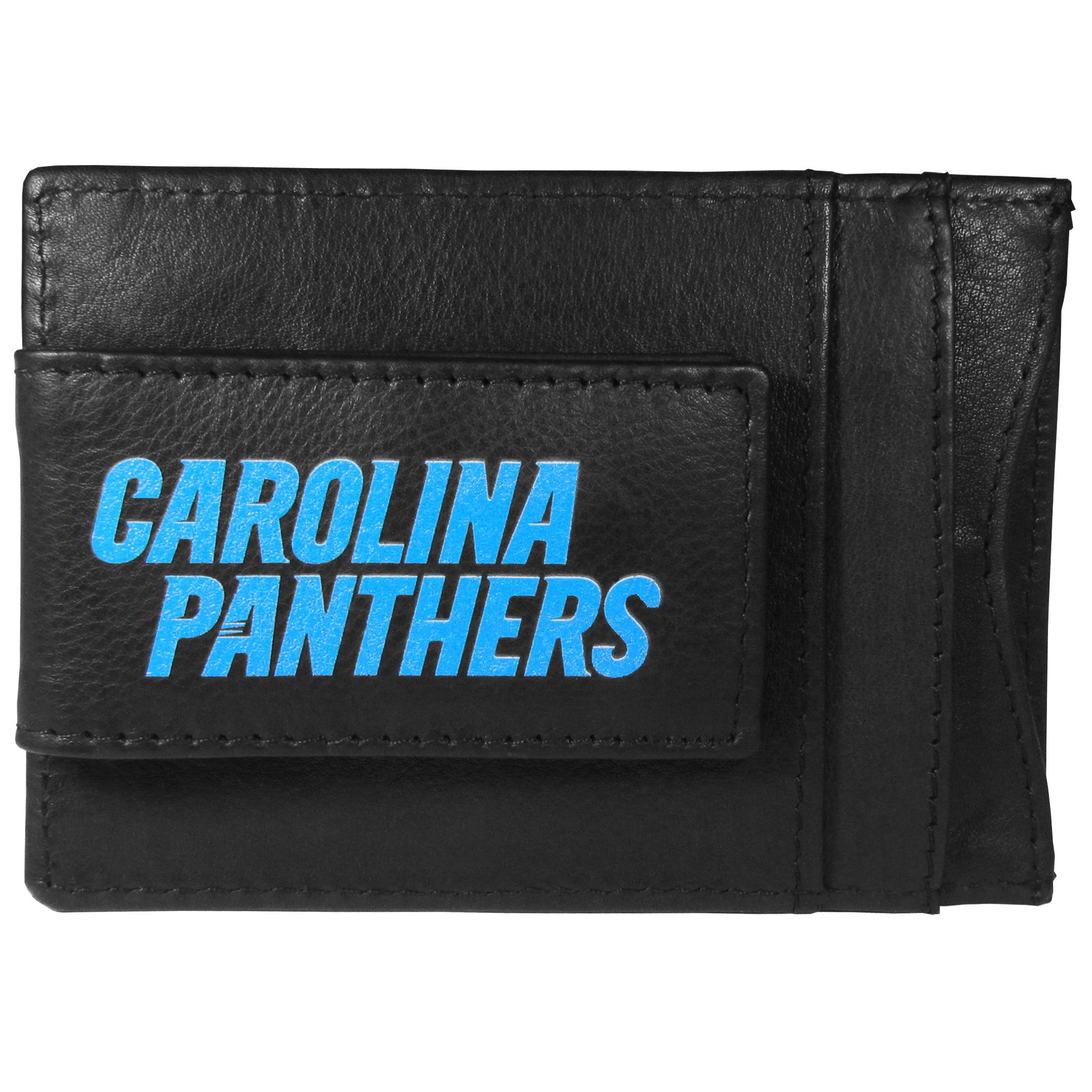 Carolina Panthers Logo Leather Cash and Cardholder - This super slim leather wallet lets you have all the benefits of a money clip while keeping the organization of a wallet. On one side of this front pocket wallet there is a strong, magnetic money clip to keep your cash easily accessible and the?Carolina Panthers team logo on the front. The versatile men's accessory is a perfect addition to your fan apparel.