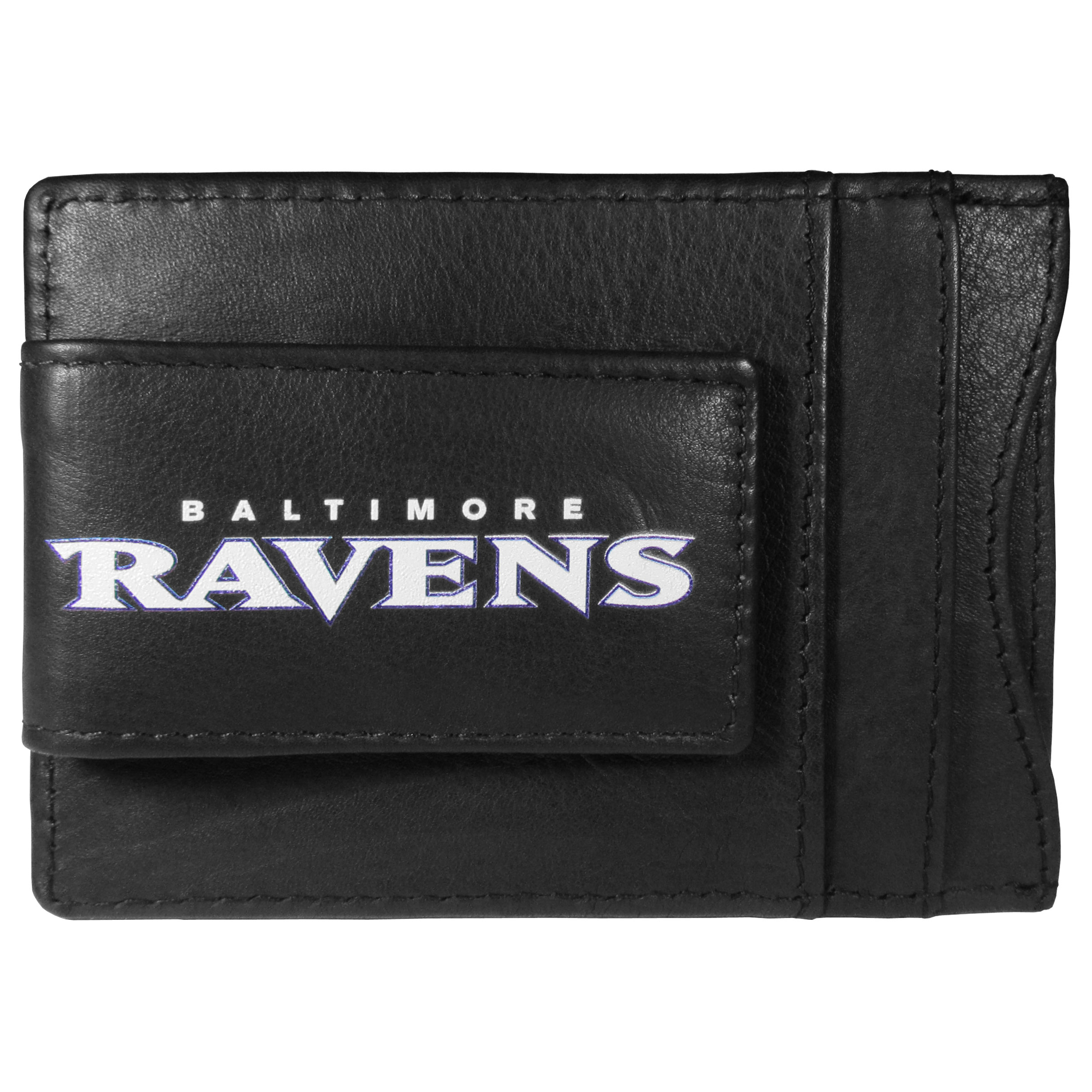 Baltimore Ravens Logo Leather Cash and Cardholder - This super slim leather wallet lets you have all the benefits of a money clip while keeping the organization of a wallet. On one side of this front pocket wallet there is a strong, magnetic money clip to keep your cash easily accessible and the?Baltimore Ravens team logo on the front. The versatile men's accessory is a perfect addition to your fan apparel.