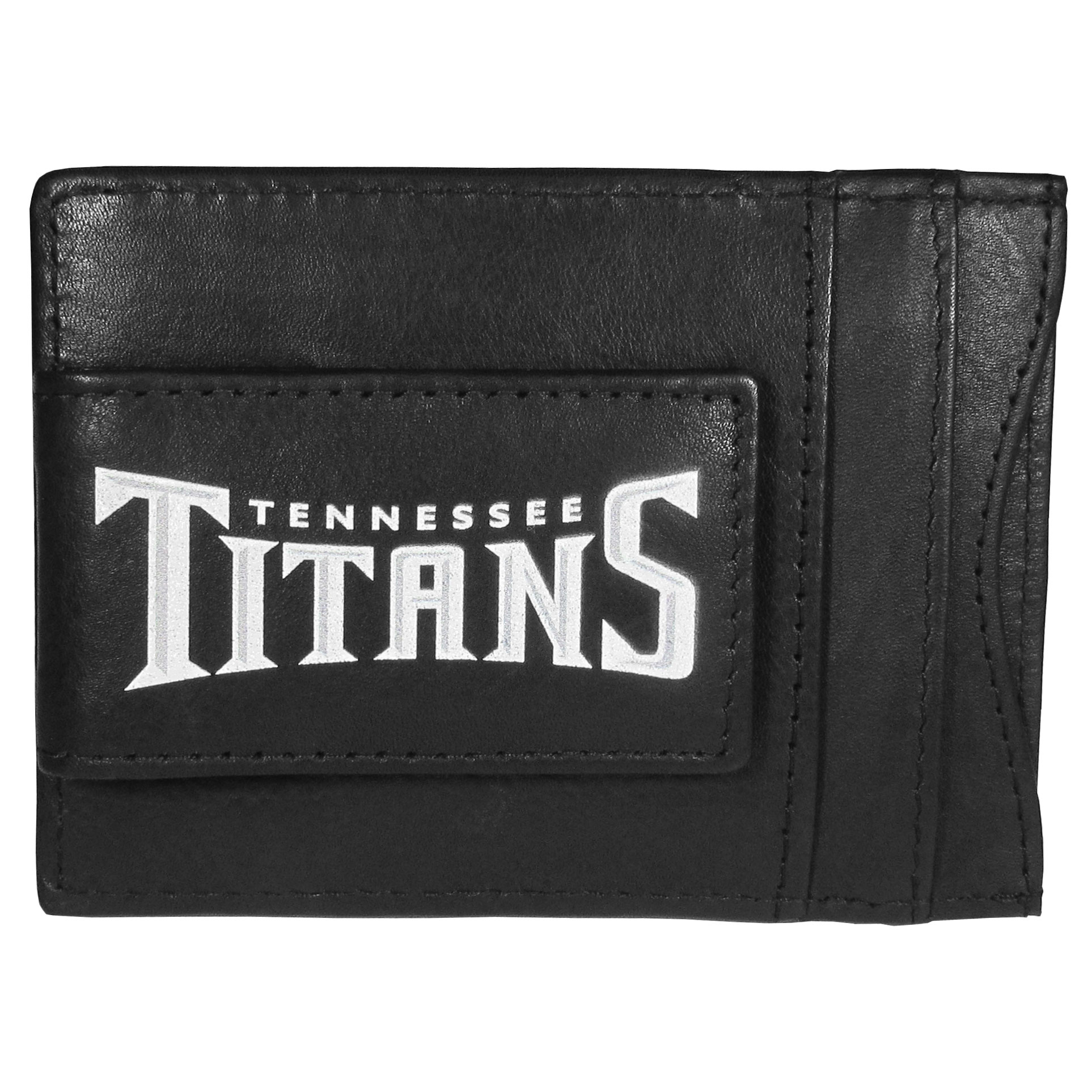 Tennessee Titans Logo Leather Cash and Cardholder - This super slim leather wallet lets you have all the benefits of a money clip while keeping the organization of a wallet. On one side of this front pocket wallet there is a strong, magnetic money clip to keep your cash easily accessible and the?Tennessee Titans team logo on the front. The versatile men's accessory is a perfect addition to your fan apparel.