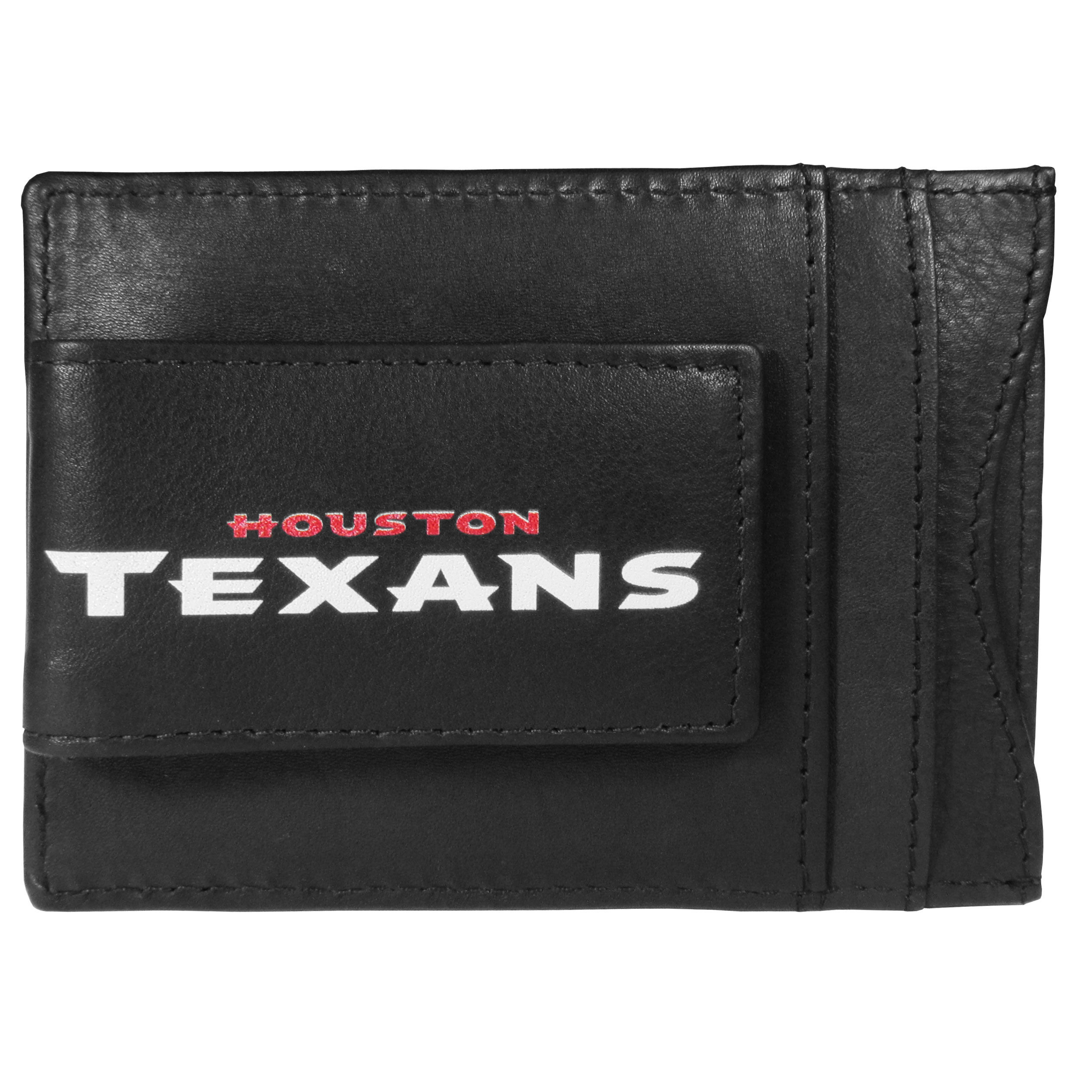 Houston Texans Logo Leather Cash and Cardholder - This super slim leather wallet lets you have all the benefits of a money clip while keeping the organization of a wallet. On one side of this front pocket wallet there is a strong, magnetic money clip to keep your cash easily accessible and the?Houston Texans team logo on the front. The versatile men's accessory is a perfect addition to your fan apparel.
