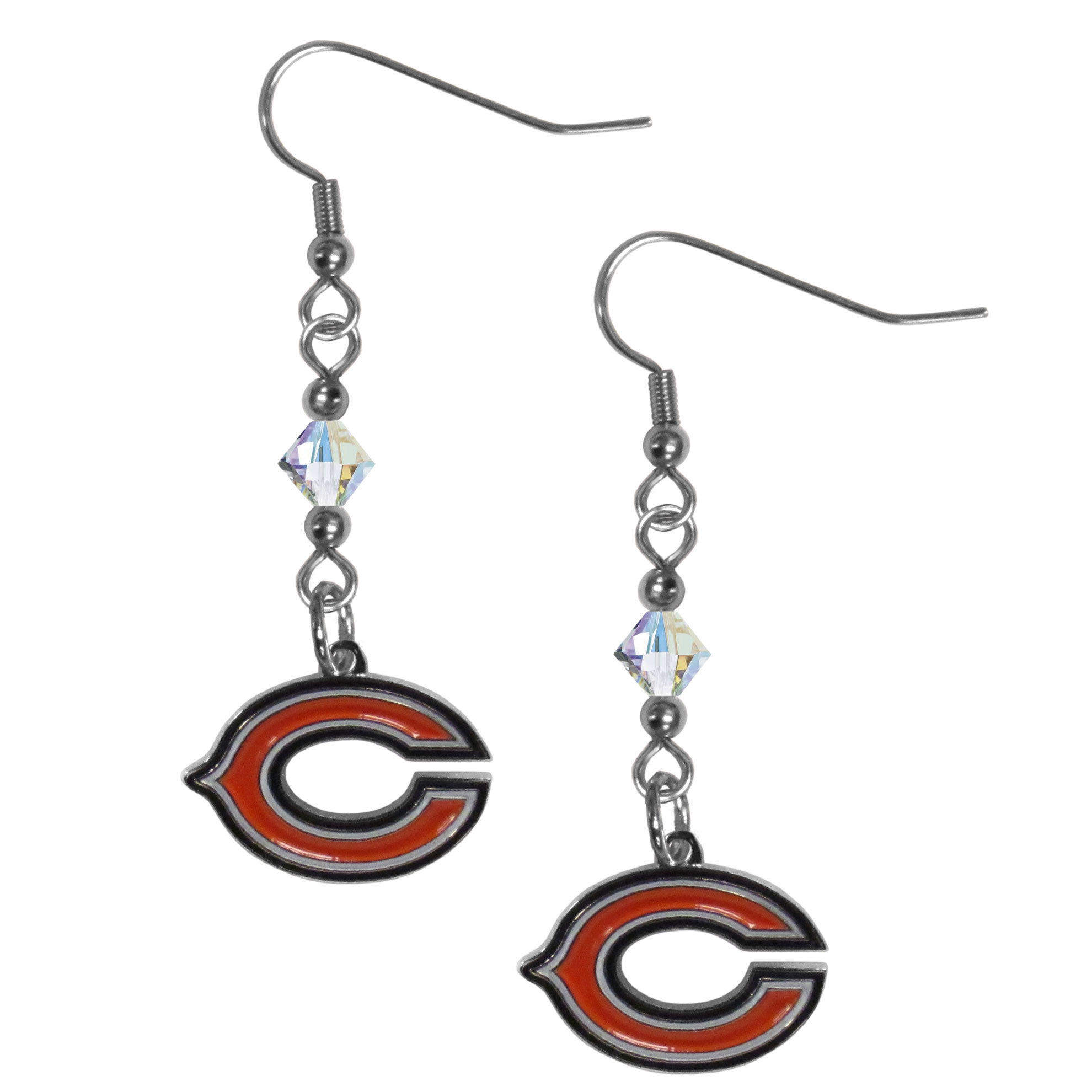 Chicago Bears Crystal Dangle Earrings - Our crystal dangle earrings are the perfect accessory for your game day outfit! The earrings are approximately 1.5 inches long and feature an iridescent crystal bead and nickel free chrome Chicago Bears charm on nickel free, hypoallergenic fishhook posts.