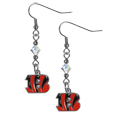 Cincinnati Bengals Crystal Dangle Earrings - Our NFL crystal dangle earrings are the perfect accessory for your game day outfit! The earrings are approximately 1.5 inches long and feature an iridescent crystal bead and nickel free chrome Cincinnati Bengals charm on nickel free, hypoallergenic fishhook posts. Officially licensed NFL product Licensee: Siskiyou Buckle .com