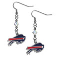 Buffalo Bills Crystal Dangle Earrings - Our NFL crystal dangle earrings are the perfect accessory for your game day outfit! The earrings are approximately 1.5 inches long and feature an iridescent crystal bead and nickel free chrome Buffalo Bills charm on nickel free, hypoallergenic fishhook posts. Officially licensed NFL product Licensee: Siskiyou Buckle .com