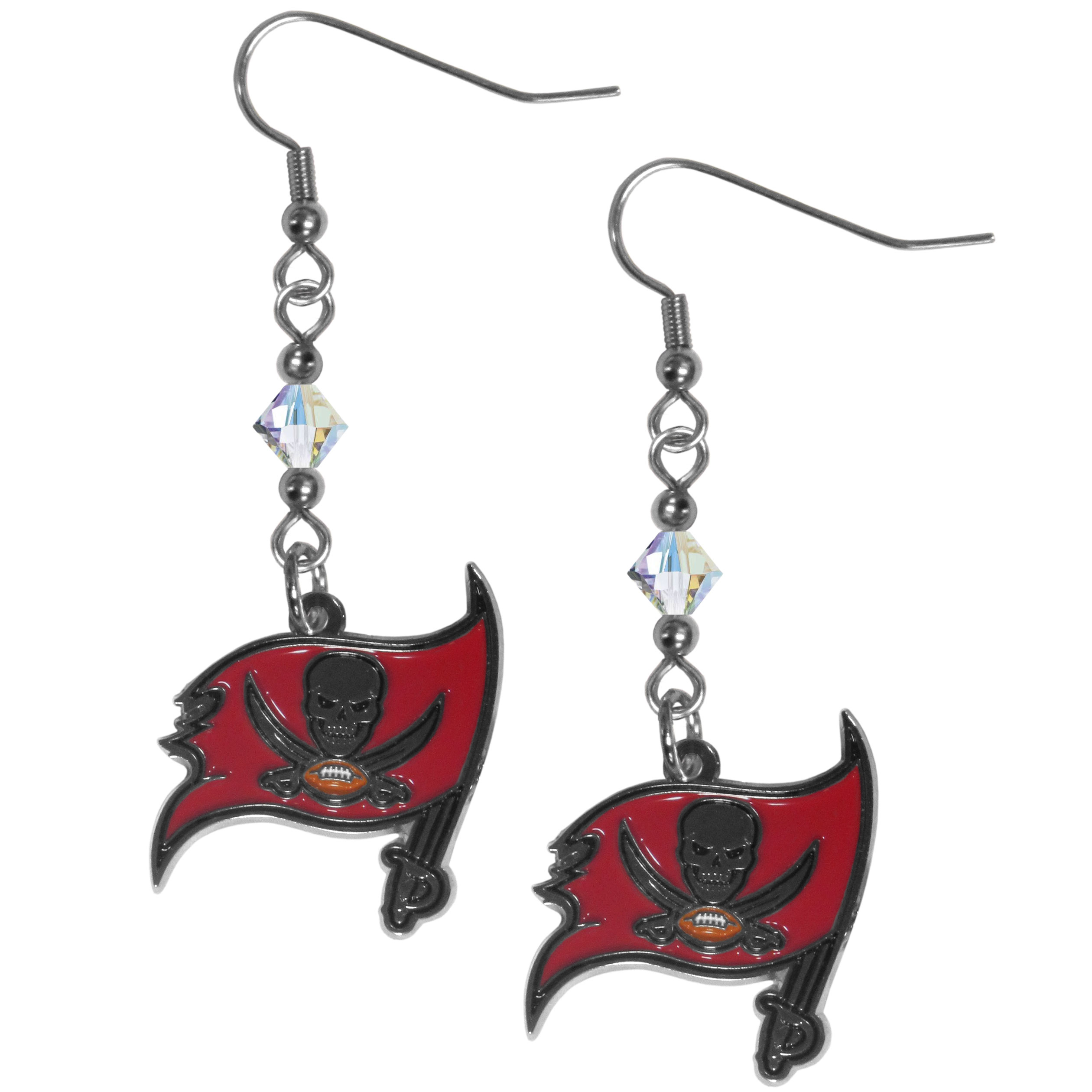 Tampa Bay Buccaneers Chrome Dangle Earrings - Our NFL crystal dangle earrings are the perfect accessory for your game day outfit! The earrings are approximately 1.5 inches long and feature an iridescent crystal bead and nickel free chrome Tampa Bay Buccaneers charm on nickel free, hypoallergenic fishhook posts. Officially licensed NFL product Licensee: Siskiyou Buckle .com