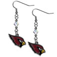 Arizona Cardinals Crystal Dangle Earrings - Our NFL crystal dangle earrings are the perfect accessory for your game day outfit! The earrings are approximately 1.5 inches long and feature an iridescent crystal bead and nickel free chrome Arizona Cardinals charm on nickel free, hypoallergenic fishhook posts. Officially licensed NFL product Licensee: Siskiyou Buckle .com