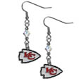 Kansas City Chiefs Crystal Dangle Earrings - Our NFL crystal dangle earrings are the perfect accessory for your game day outfit! The earrings are approximately 1.5 inches long and feature an iridescent crystal bead and nickel free chrome Kansas City Chiefs charm on nickel free, hypoallergenic fishhook posts. Officially licensed NFL product Licensee: Siskiyou Buckle Thank you for visiting CrazedOutSports.com