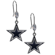 Dallas Cowboys Crystal Dangle Earrings - Our NFL crystal dangle earrings are the perfect accessory for your game day outfit! The earrings are approximately 1.5 inches long and feature an iridescent crystal bead and nickel free chrome Dallas Cowboys charm on nickel free, hypoallergenic fishhook posts. Officially licensed NFL product Licensee: Siskiyou Buckle .com