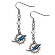 Miami Dolphins Crystal Dangle Earrings - Our NFL crystal dangle earrings are the perfect accessory for your game day outfit! The earrings are approximately 1.5 inches long and feature an iridescent crystal bead and nickel free chrome Miami Dolphins charm on nickel free, hypoallergenic fishhook posts. Officially licensed NFL product Licensee: Siskiyou Buckle .com