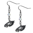 Philadelphia Eagles Crystal Dangle Earrings - Our NFL crystal dangle earrings are the perfect accessory for your game day outfit! The earrings are approximately 1.5 inches long and feature an iridescent crystal bead and nickel free chrome Philadelphia Eagles charm on nickel free, hypoallergenic fishhook posts. Officially licensed NFL product Licensee: Siskiyou Buckle .com
