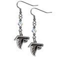 Atlanta Falcons Crystal Dangle Earrings - Our NFL crystal dangle earrings are the perfect accessory for your game day outfit! The earrings are approximately 1.5 inches long and feature an iridescent crystal bead and nickel free chrome Atlanta Falcons charm on nickel free, hypoallergenic fishhook posts. Officially licensed NFL product Licensee: Siskiyou Buckle .com