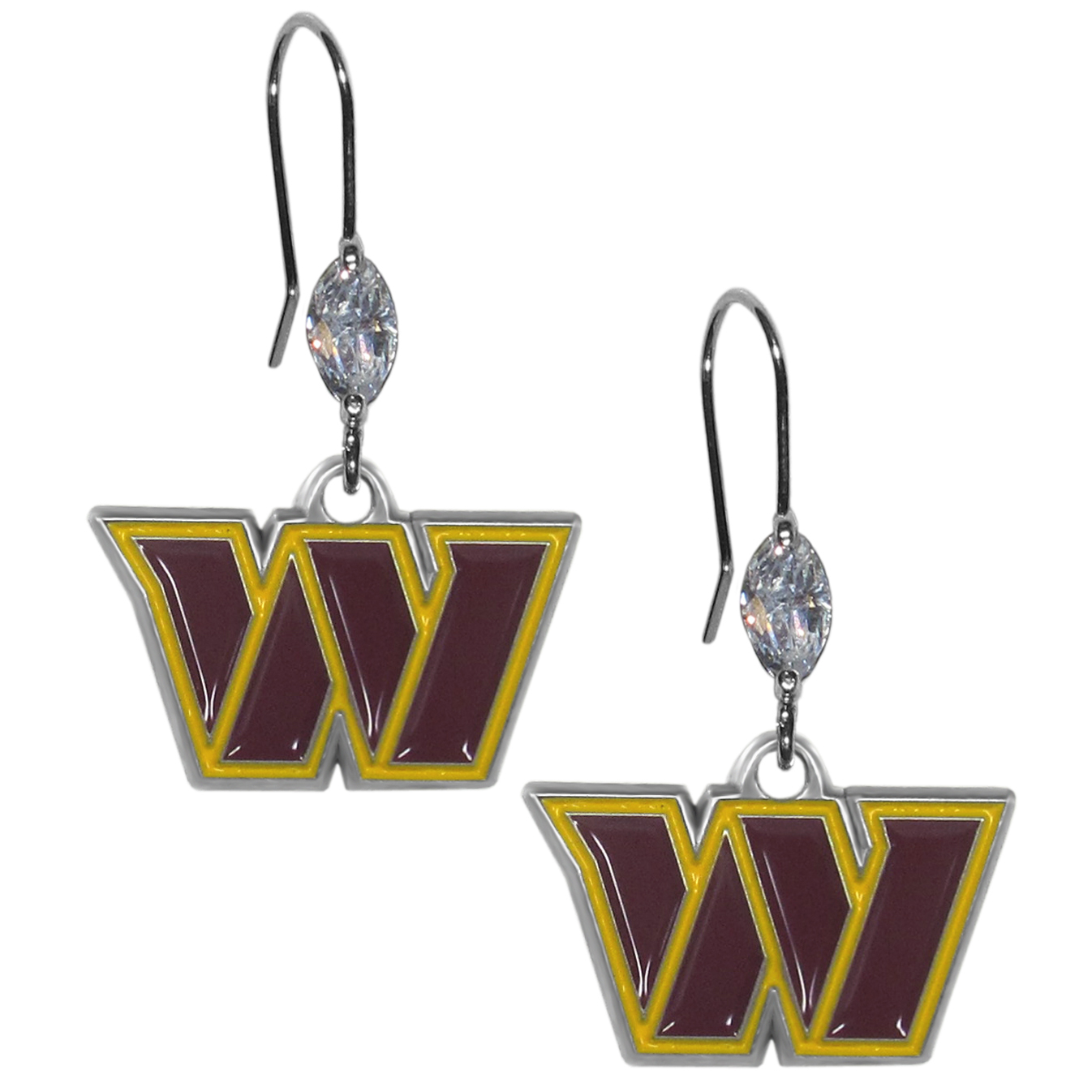 Washington Redskins Crystal Dangle Earrings - Our crystal dangle earrings are the perfect accessory for your game day outfit! The earrings are approximately 1.5 inches long and feature an iridescent crystal bead and nickel free chrome Washington Redskins charm on nickel free, hypoallergenic fishhook posts.