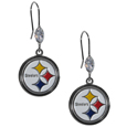 Pittsburgh Steelers Crystal Dangle Earrings - Our NFL crystal dangle earrings are the perfect accessory for your game day outfit! The earrings are approximately 1.5 inches long and feature an iridescent crystal bead and nickel free chrome Pittsburgh Steelers charm on nickel free, hypoallergenic fishhook posts. Officially licensed NFL product Licensee: Siskiyou Buckle .com