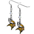 Minnesota Vikings Crystal Dangle Earrings - Our NFL crystal dangle earrings are the perfect accessory for your game day outfit! The earrings are approximately 1.5 inches long and feature an iridescent crystal bead and nickel free chrome Minnesota Vikings charm on nickel free, hypoallergenic fishhook posts. Officially licensed NFL product Licensee: Siskiyou Buckle .com