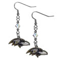Baltimore Ravens Crystal Dangle Earrings - Our NFL crystal dangle earrings are the perfect accessory for your game day outfit! The earrings are approximately 1.5 inches long and feature an iridescent crystal bead and nickel free chrome Baltimore Ravens charm on nickel free, hypoallergenic fishhook posts. Officially licensed NFL product Licensee: Siskiyou Buckle .com