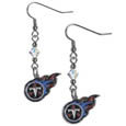 Tennessee Titans Crystal Dangle Earrings - Our NFL crystal dangle earrings are the perfect accessory for your game day outfit! The earrings are approximately 1.5 inches long and feature an iridescent crystal bead and nickel free chrome Tennessee Titans charm on nickel free, hypoallergenic fishhook posts. Officially licensed NFL product Licensee: Siskiyou Buckle .com