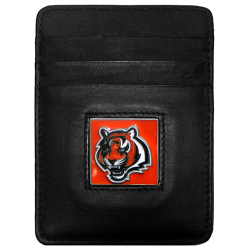 Executive NFL Money Clip/Card Holder - Cincinnati Bengals - Our Executive Money Clip/Card Holders are made of high quality fine grain leather with a sculpted NFL team emblem. Packaged in a window box that can be hung on a peg or stacked on a shelf. Check out our entire line of  NFL merchandise! Officially licensed NFL product Licensee: Siskiyou Buckle Thank you for visiting CrazedOutSports.com