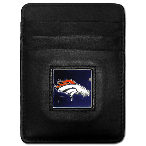 Executive NFL Money Clip/Card Holder - Denver Broncos - Our Executive Money Clip/Card Holders are made of high quality fine grain leather with a sculpted NFL team emblem. Packaged in a collector's tin. Check out our entire line of  NFL merchandise! Officially licensed NFL product Licensee: Siskiyou Buckle .com