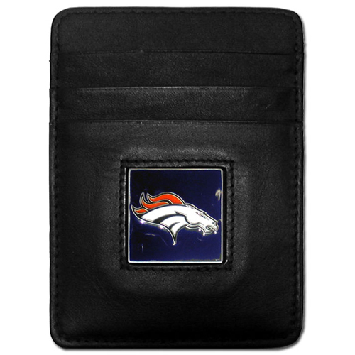 Executive NFL Money Clip/Card Holder - Denver Broncos - Our Executive Money Clip/Card Holders are made of high quality fine grain leather with a sculpted NFL team emblem. Packaged in a window box that can be hung on a peg or stacked on a shelf. Check out our entire line of  NFL merchandise! Officially licensed NFL product Licensee: Siskiyou Buckle Thank you for visiting CrazedOutSports.com