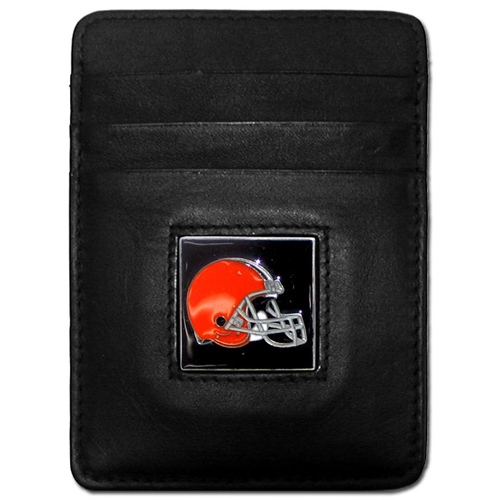 Executive NFL Money Clip/Card Holder - Cleveland Browns - Our Executive Money Clip/Card Holders are made of high quality fine grain leather with a sculpted NFL team emblem. Packaged in a collector's tin. Check out our entire line of  NFL merchandise! Officially licensed NFL product Licensee: Siskiyou Buckle .com