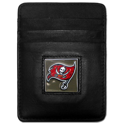 Executive NFL Money Clip/Card Holder - Tampa Bay Buccaneers - Our Executive Money Clip/Card Holders are made of high quality fine grain leather with a sculpted NFL team emblem. Packaged in a collector's tin. Check out our entire line of  NFL merchandise! Officially licensed NFL product Licensee: Siskiyou Buckle .com