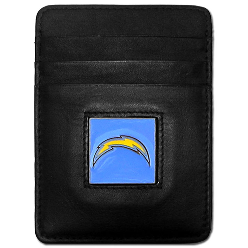 Executive NFL Money Clip/Card Holder - San Diego Chargers - Our Executive Money Clip/Card Holders are made of high quality fine grain leather with a sculpted NFL team emblem. Packaged in a collector's tin. Check out our entire line of  NFL merchandise! Officially licensed NFL product Licensee: Siskiyou Buckle .com