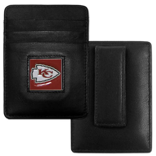 Executive NFL Money Clip/Card Holder - Kansas City Chiefs - Our Executive Money Clip/Card Holders are made of high quality fine grain leather with a sculpted NFL team emblem. Packaged in a collector's tin. Check out our entire line of  NFL merchandise! Officially licensed NFL product Licensee: Siskiyou Buckle .com