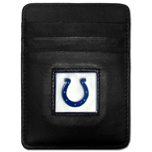 Executive NFL Money Clip/Card Holder - Indianapolis Colts - Our Executive Money Clip/Card Holders are made of high quality fine grain leather with a sculpted NFL team emblem. Packaged in a window box that can be hung on a peg or stacked on a shelf. Check out our entire line of  NFL merchandise! Officially licensed NFL product Licensee: Siskiyou Buckle Thank you for visiting CrazedOutSports.com