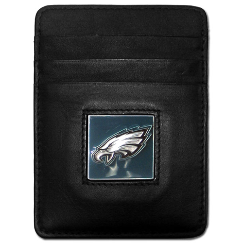 Executive NFL Money Clip/Card Holder - Philadelphia Eagles - Our Executive Money Clip/Card Holders are made of high quality fine grain leather with a sculpted NFL team emblem. Packaged in a window box that can be hung on a peg or stacked on a shelf. Check out our entire line of  NFL merchandise! Officially licensed NFL product Licensee: Siskiyou Buckle .com