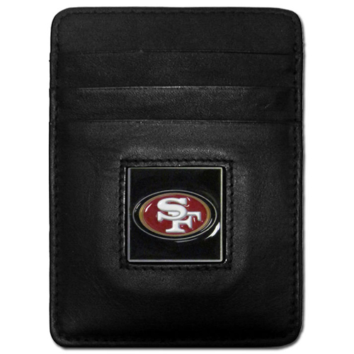 Executive NFL Money Clip/Card Holder - San Francisco 49ers - Our Executive Money Clip/Card Holders are made of high quality fine grain leather with a sculpted NFL team emblem. Packaged in a collector's tin. Check out our entire line of  NFL merchandise! Officially licensed NFL product Licensee: Siskiyou Buckle .com