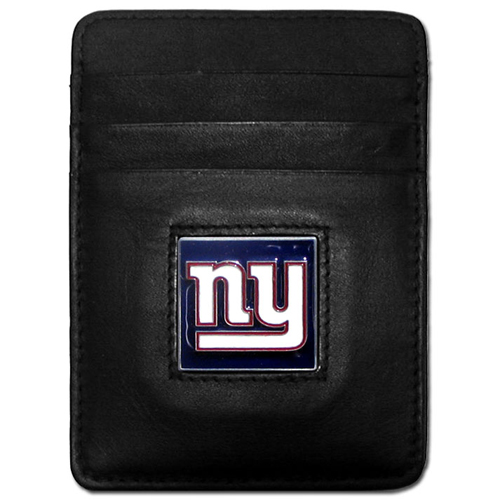 Executive NFL Money Clip/Card Holder - New York Giants - Our Executive Money Clip/Card Holders are made of high quality fine grain leather with a sculpted NFL team emblem. Packaged in a collector's tin. Check out our entire line of  NFL merchandise! Officially licensed NFL product Licensee: Siskiyou Buckle .com