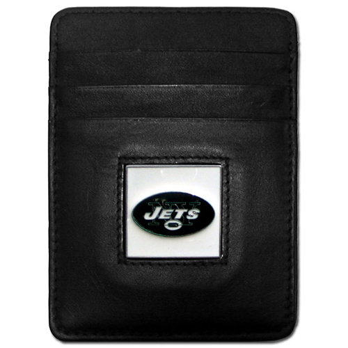 Executive NFL Money Clip/Card Holder - New York Jets - Our Executive Money Clip/Card Holders are made of high quality fine grain leather with a sculpted NFL team emblem. Packaged in a window box that can be hung on a peg or stacked on a shelf. Check out our entire line of  NFL merchandise! Officially licensed NFL product Licensee: Siskiyou Buckle Thank you for visiting CrazedOutSports.com