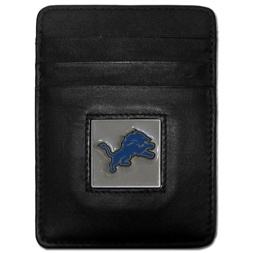 Executive NFL Money Clip/Card Holder - Detroit Lions - Our Executive Money Clip/Card Holders are made of high quality fine grain leather with a sculpted NFL team emblem. Packaged in a collector's tin. Check out our entire line of  NFL merchandise! Officially licensed NFL product Licensee: Siskiyou Buckle .com