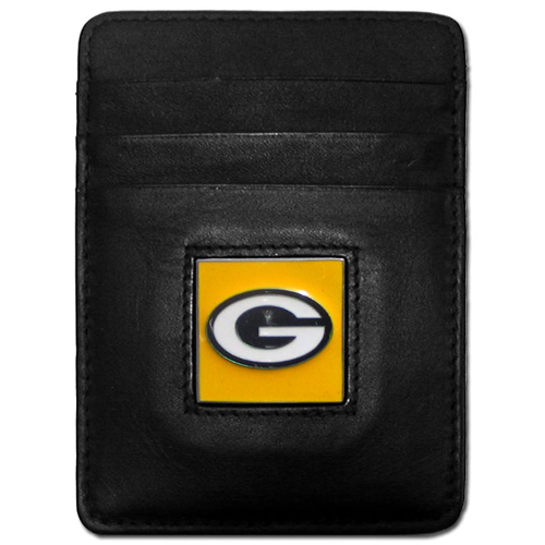 Executive NFL Money Clip/Card Holder - Green Bay Packers - Our Executive Money Clip/Card Holders are made of high quality fine grain leather with a sculpted NFL team emblem. Packaged in a window box that can be hung on a peg or stacked on a shelf. Check out our entire line of  NFL merchandise! Officially licensed NFL product Licensee: Siskiyou Buckle Thank you for visiting CrazedOutSports.com