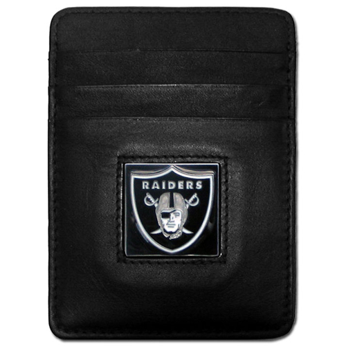 Executive NFL Money Clip/Card Holder - Oakland Raiders - Our Executive Money Clip/Card Holders are made of high quality fine grain leather with a sculpted NFL team emblem. Packaged in a collector's tin. Check out our entire line of  NFL merchandise! Officially licensed NFL product Licensee: Siskiyou Buckle .com