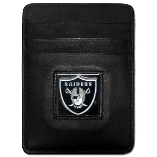Executive NFL Money Clip/Card Holder - Oakland Raiders - Our Executive Money Clip/Card Holders are made of high quality fine grain leather with a sculpted NFL team emblem. Packaged in a window box that can be hung on a peg or stacked on a shelf. Check out our entire line of  NFL merchandise! Officially licensed NFL product Licensee: Siskiyou Buckle Thank you for visiting CrazedOutSports.com