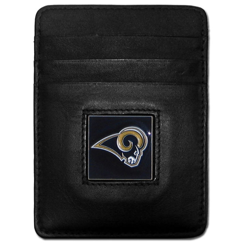 Executive NFL Money Clip/Card Holder - St. Louis Rams - Our Executive Money Clip/Card Holders are made of high quality fine grain leather with a sculpted NFL team emblem. Packaged in a window box that can be hung on a peg or stacked on a shelf. Check out our entire line of  NFL merchandise! Officially licensed NFL product Licensee: Siskiyou Buckle .com