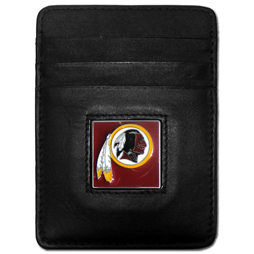 Executive NFL Money Clip/Card Holder - Washington Redskins - Our Executive Money Clip/Card Holders are made of high quality fine grain leather with a sculpted NFL team emblem. Packaged in a window box that can be hung on a peg or stacked on a shelf. Check out our entire line of  NFL merchandise! Officially licensed NFL product Licensee: Siskiyou Buckle Thank you for visiting CrazedOutSports.com