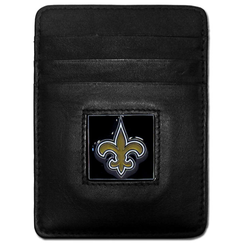 Executive NFL Money Clip/Card Holder - New Orleans Saints - Our Executive Money Clip/Card Holders are made of high quality fine grain leather with a sculpted NFL team emblem. Packaged in a collector's tin. Check out our entire line of  NFL merchandise! Officially licensed NFL product Licensee: Siskiyou Buckle .com