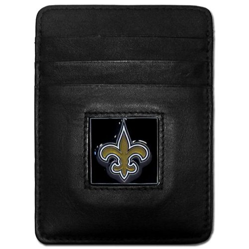 Executive NFL Money Clip/Card Holder - New Orleans Saints - Our Executive Money Clip/Card Holders are made of high quality fine grain leather with a sculpted NFL team emblem. Packaged in a window box that can be hung on a peg or stacked on a shelf. Check out our entire line of  NFL merchandise! Officially licensed NFL product Licensee: Siskiyou Buckle Thank you for visiting CrazedOutSports.com