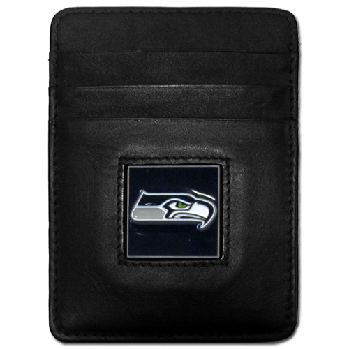 Executive NFL Money Clip/Card Holder - Seattle Seahawks - Our Executive Money Clip/Card Holders are made of high quality fine grain leather with a sculpted NFL team emblem. Packaged in a collector's tin. Check out our entire line of  NFL merchandise! Officially licensed NFL product Licensee: Siskiyou Buckle .com
