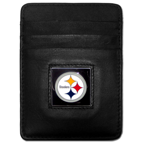 Executive NFL Money Clip/Card Holder - Pittsburgh Steelers - Our Executive Money Clip/Card Holders are made of high quality fine grain leather with a sculpted NFL team emblem. Packaged in a collector's tin. Check out our entire line of  NFL merchandise! Officially licensed NFL product Licensee: Siskiyou Buckle .com