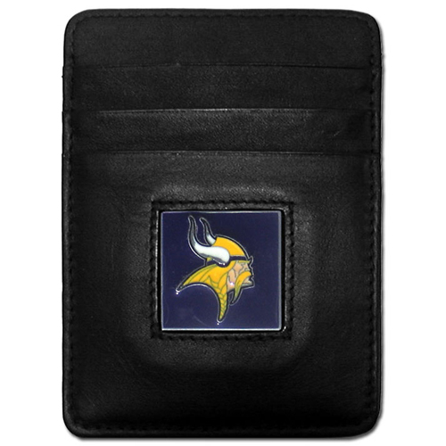 Executive NFL Money Clip/Card Holder - Minnesota Vikings - Our Executive Money Clip/Card Holders are made of high quality fine grain leather with a sculpted NFL team emblem. Packaged in a window box that can be hung on a peg or stacked on a shelf. Check out our entire line of  NFL merchandise! Officially licensed NFL product Licensee: Siskiyou Buckle .com