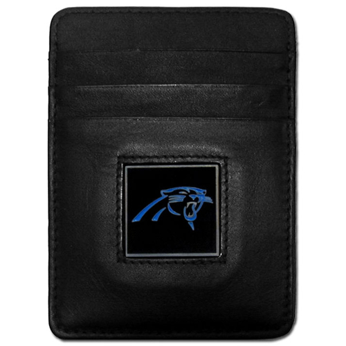 Executive NFL Money Clip/Card Holder - Carolina Panthers - Our Executive Money Clip/Card Holders are made of high quality fine grain leather with a sculpted NFL team emblem. Packaged in a collector's tin. Check out our entire line of  NFL merchandise! Officially licensed NFL product Licensee: Siskiyou Buckle .com
