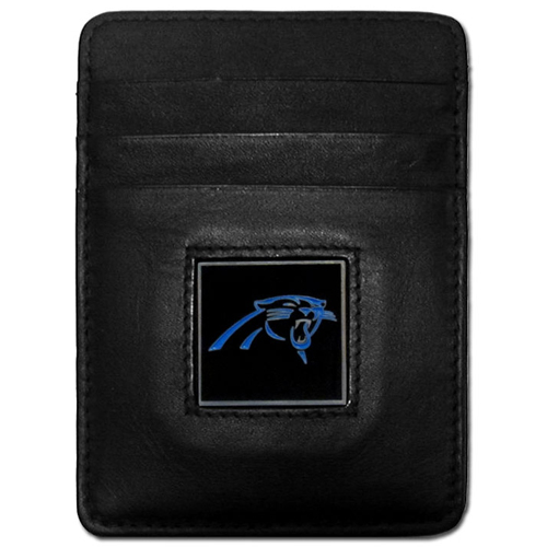 Executive NFL Money Clip/Card Holder - Carolina Panthers - Our Executive Money Clip/Card Holders are made of high quality fine grain leather with a sculpted NFL team emblem. Packaged in a window box that can be hung on a peg or stacked on a shelf. Check out our entire line of  NFL merchandise! Officially licensed NFL product Licensee: Siskiyou Buckle .com