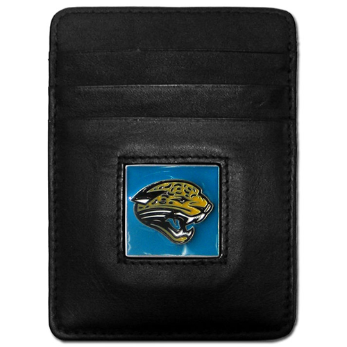 Executive NFL Money Clip/Card Holder - Jacksonville Jaguars - Our Executive Money Clip/Card Holders are made of high quality fine grain leather with a sculpted NFL team emblem. Packaged in a collector's tin. Check out our entire line of  NFL merchandise! Officially licensed NFL product Licensee: Siskiyou Buckle .com