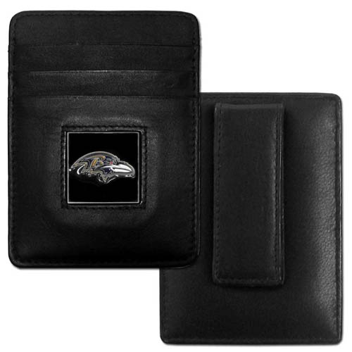 Executive NFL Money Clip/Card Holder - Baltimore Ravens - Our Executive Money Clip/Card Holders are made of high quality fine grain leather with a sculpted NFL team emblem. Packaged in a window box that can be hung on a peg or stacked on a shelf. Check out our entire line of  NFL merchandise! Officially licensed NFL product Licensee: Siskiyou Buckle .com