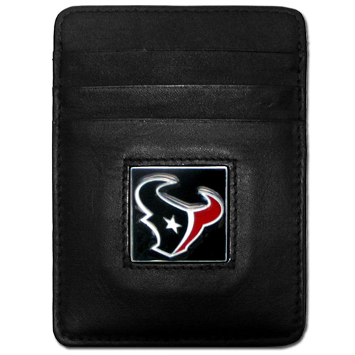 Executive NFL Money Clip/Card Holder - Houston Texans - Our Executive Money Clip/Card Holders are made of high quality fine grain leather with a sculpted NFL team emblem. Packaged in a collector's tin. Check out our entire line of  NFL merchandise! Officially licensed NFL product Licensee: Siskiyou Buckle .com